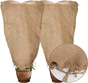 2 Pack Burlap Winter Plant Cover Bags- 23.6 × 39.4 inch Reusable Warm Winter Frost-Proof Plant Bags with Drawstring Frost Blanket Protecting for Outdoor Garden Plant from Freezing& Animal Eating