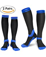 Laneco Compression Socks for Women & Men (2 Pairs), Graduated Compression Sock 20-30 mmhg for Nurses, Running, Maternity Pregnancy, Athletic Sports, Flight Travel, Shin Splints, Edema, Varicose Veins