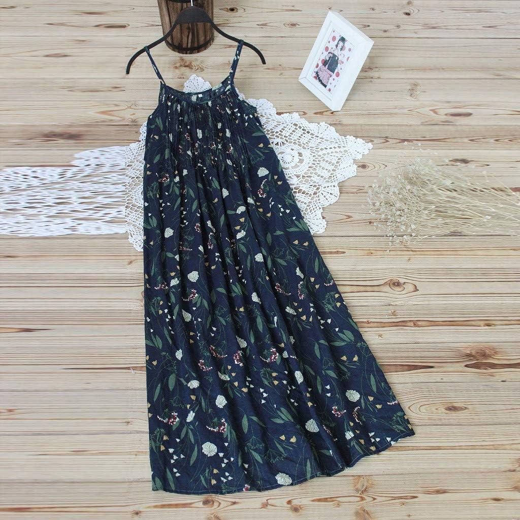 FEDULK Womens Plus Size Dress Vintage Bohemian Floral Print Sleeveless Summer Casual Straps Maxi Dress