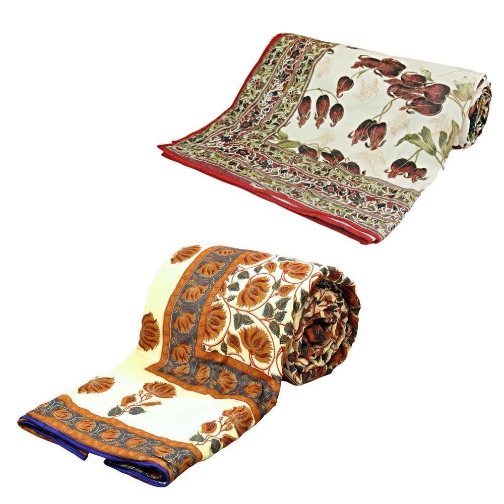 Little India Jaipuri Print AC Double Bed Comforters Pair Combo 312
