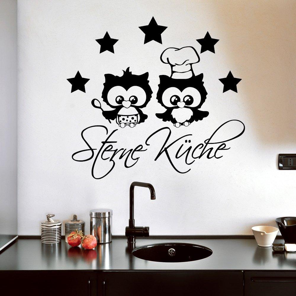 "Wandtattoo Loft ""5 Sterne Küche und Eulenköche  - Wandtattoo   49 Farben   3 Größen   schwarz   55 x 60 cm B00XPJ3V3G Wandtattoos & Wandbilder"