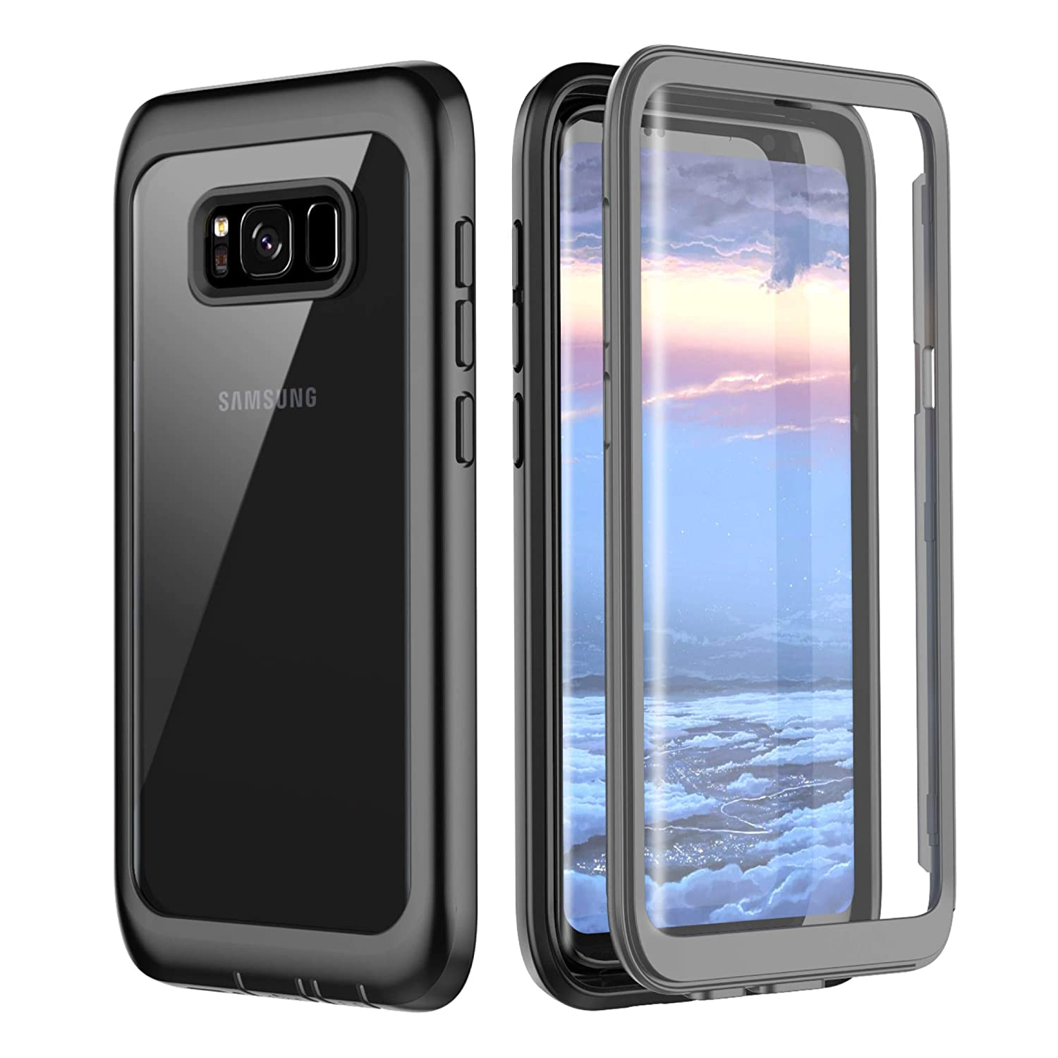 new style 0780c 23084 Samsung Galaxy S8 Case, Pakoyi Full Body Bumper Case Built-in Screen  Protector Slim Clear Shock-Absorbing Dustproof Lightweight Cover Case For  Samsung ...