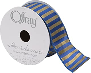 """product image for Offray Wired Edge Bold Stripe Ribbon, 1-1/2"""" Wide, 10 Yards, Royal/Gold"""