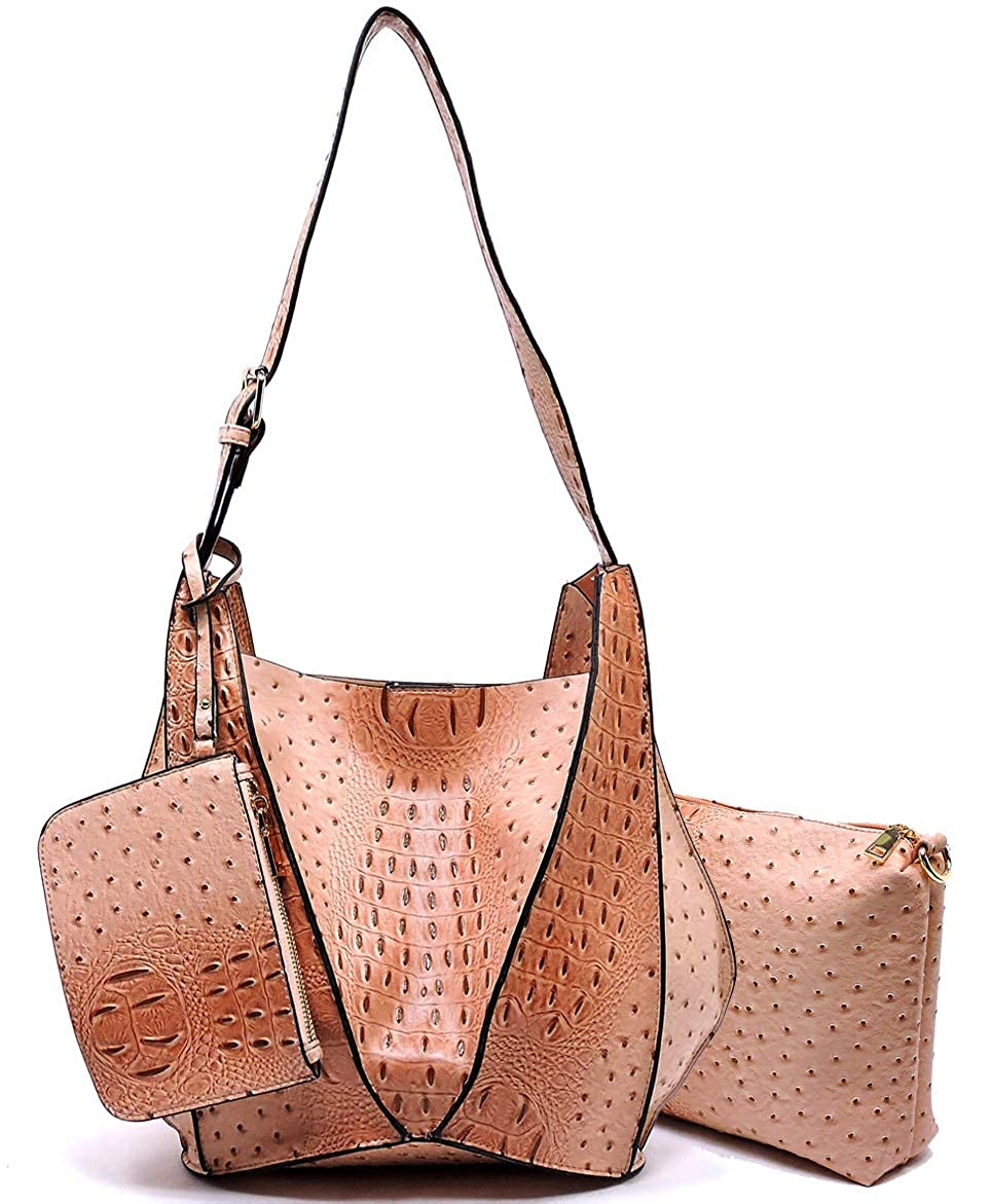 bluesh 3pc Le Miel Ostrich Embossed Long Strap Hobo w Pullout Crossbody + Coin Pouch
