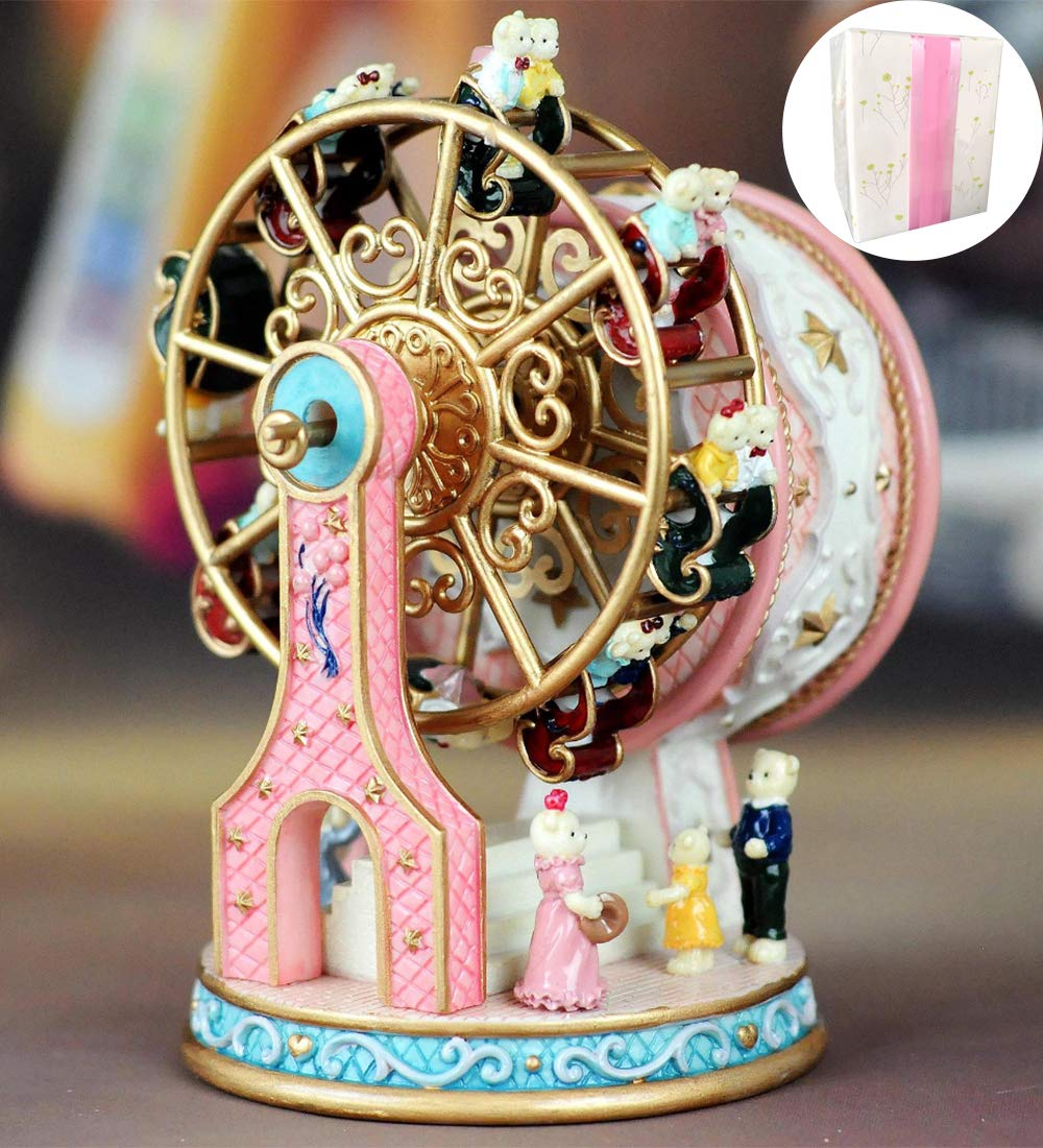 ASNOMY Personalized Rotating Ferris Wheel Music Box for Girls or Boys' Birthday, Music Box Melody Canon(Canon, Pink)