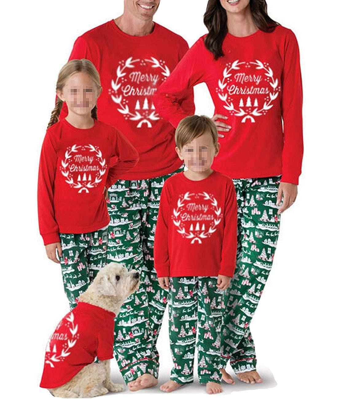 Merry Christmas Family Matching Pajamas Sets Top Santa Claus Tree Pant Christmas Pj for Family