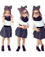 1Set Little kids Girls Outfit Clothes Long Sleeve T-shirt Tops+Short Skirt by FEITONG