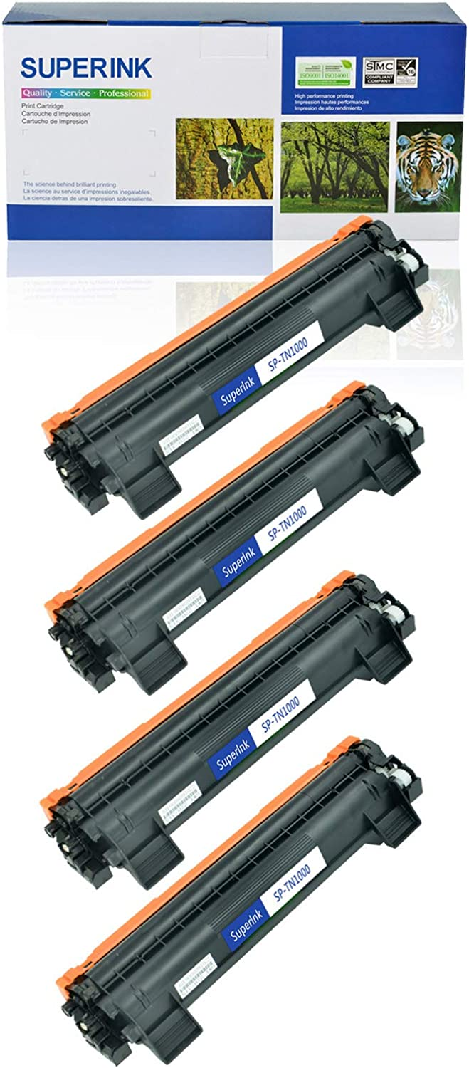 SuperInk Compatible Toner Cartridge Replacement for Brother TN1000 TN-1000 to use with HL-1110 HL-1110R HL-1111 HL-1112 MFC-1810 MFC-1815R MFC-1910W DCP-1510R DCP-1512 Black, 4-Pack