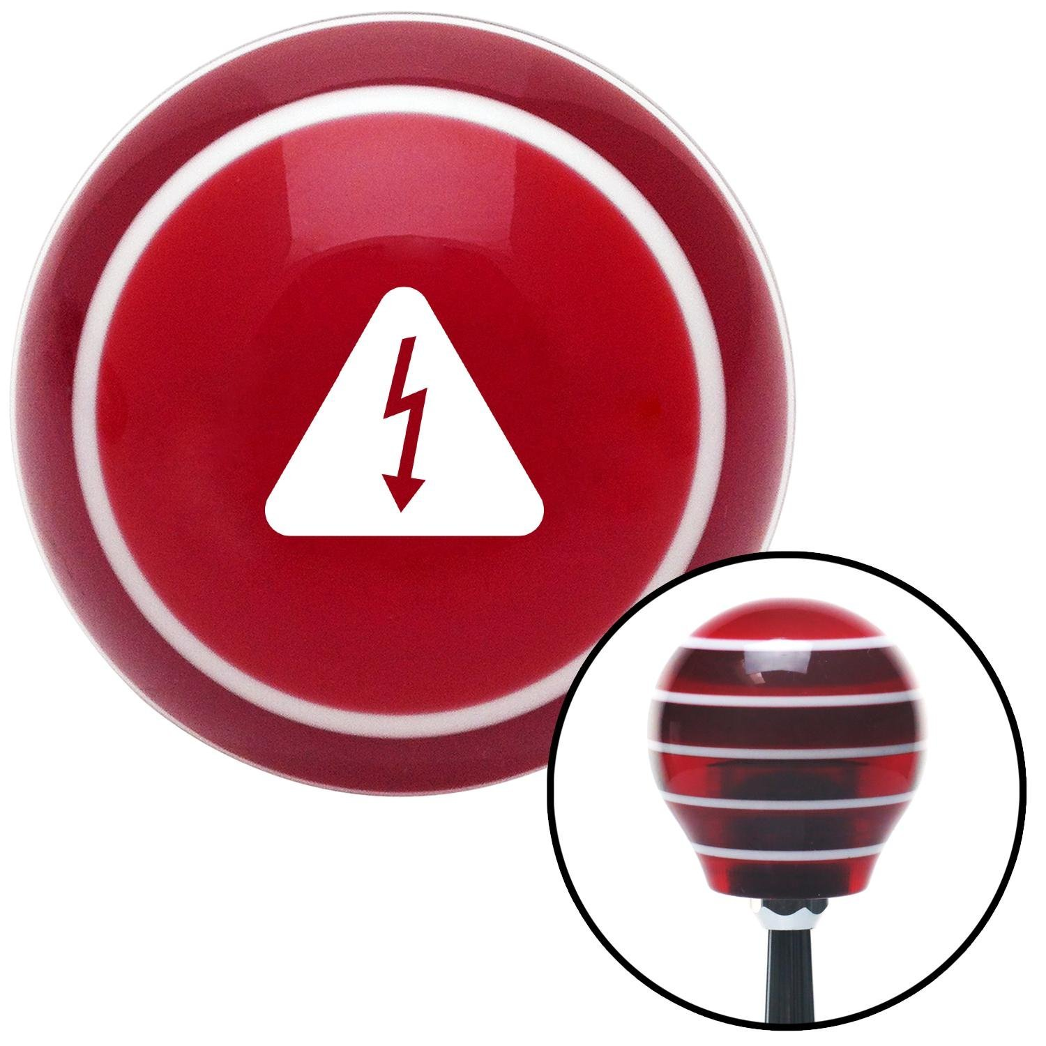 White High Voltage Red Stripe with M16 x 1.5 Insert American Shifter 273747 Shift Knob