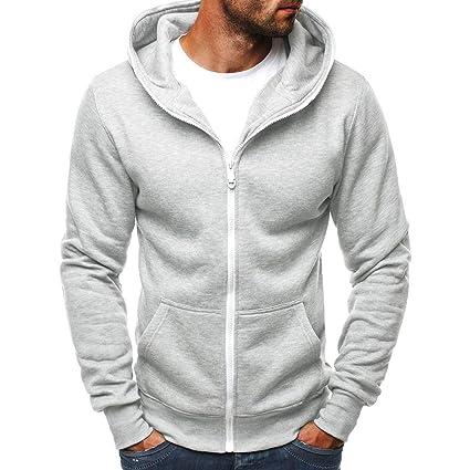 LILICAT Hombres Casual Color sólido Simple con Capucha y Cremallera con Cremallera Delgada Camisa con Capucha