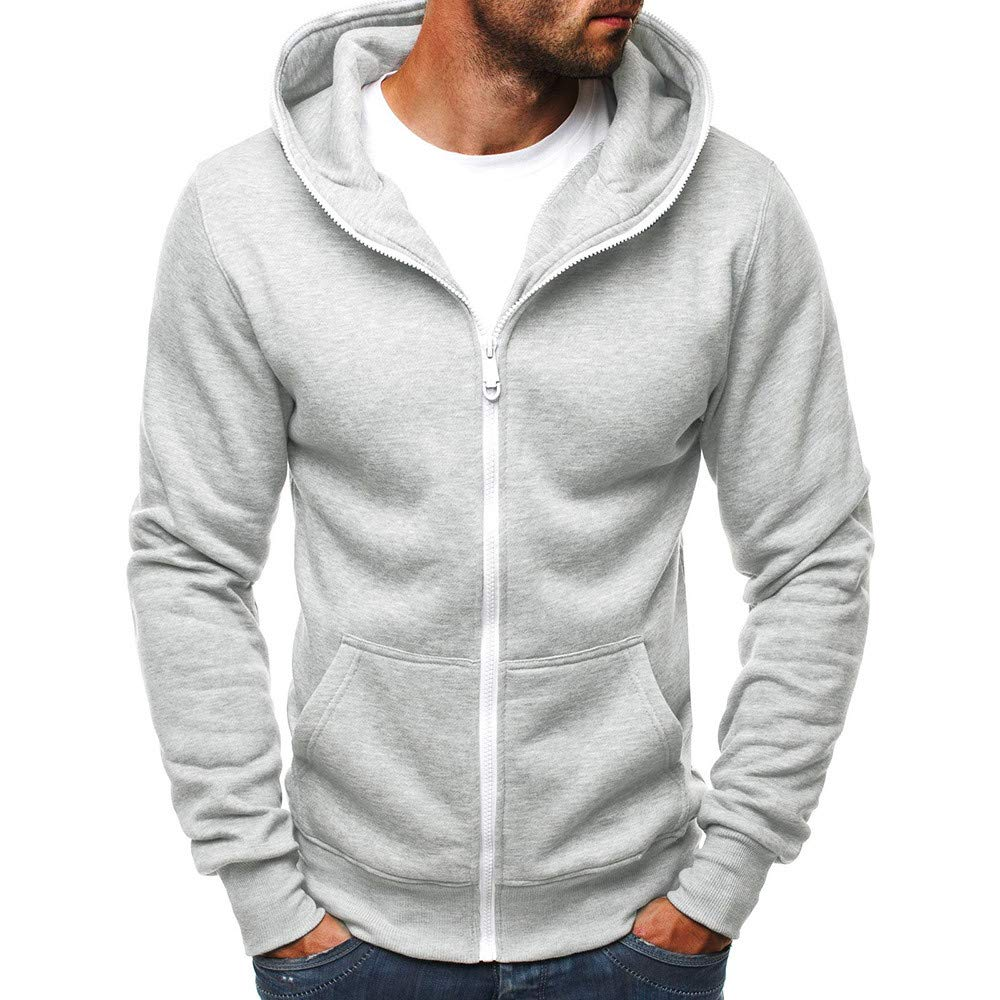 Pervobs Mens Casual Slim Fit Zipper-Up Hoodie Pocket Hooded Pullover Sweatshirt Coat