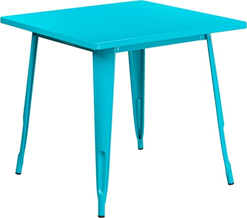 Flash Furniture Commercial Grade 31.5″ Square Crystal Teal-Blue Metal Indoor-Outdoor Table