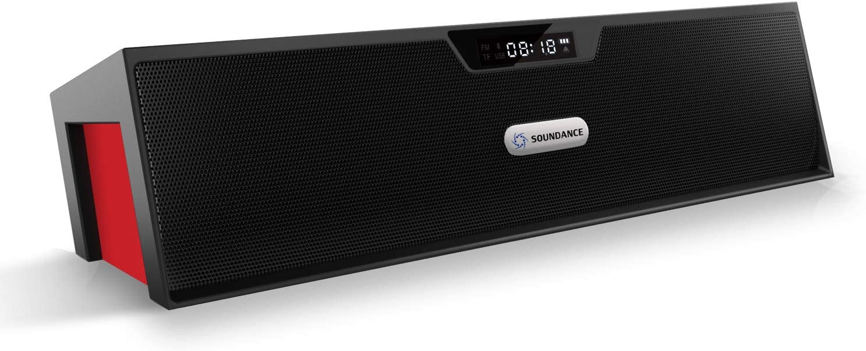 Soundance FM Radio Wireless Bluetooth Speaker Alarm Clock, Portable Radio Speaker with Digital LED USB Rechargeable for Office Desk Home Bedroom Bedside Desktop Computer, SDY019 Black Red