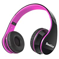 BestGot Headphones Over Ear Kids Headphones with Microphone Volume Control Lightweight Noise Isolating Headsets with Detachable 3.5mm Cable for Apple Android Smartphone Tablets Laptop (Black/Pink)