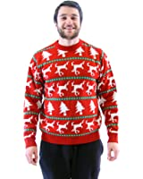 Arbres de Noël rouge et rennes adulte Mortes Ugly Pull pour homme