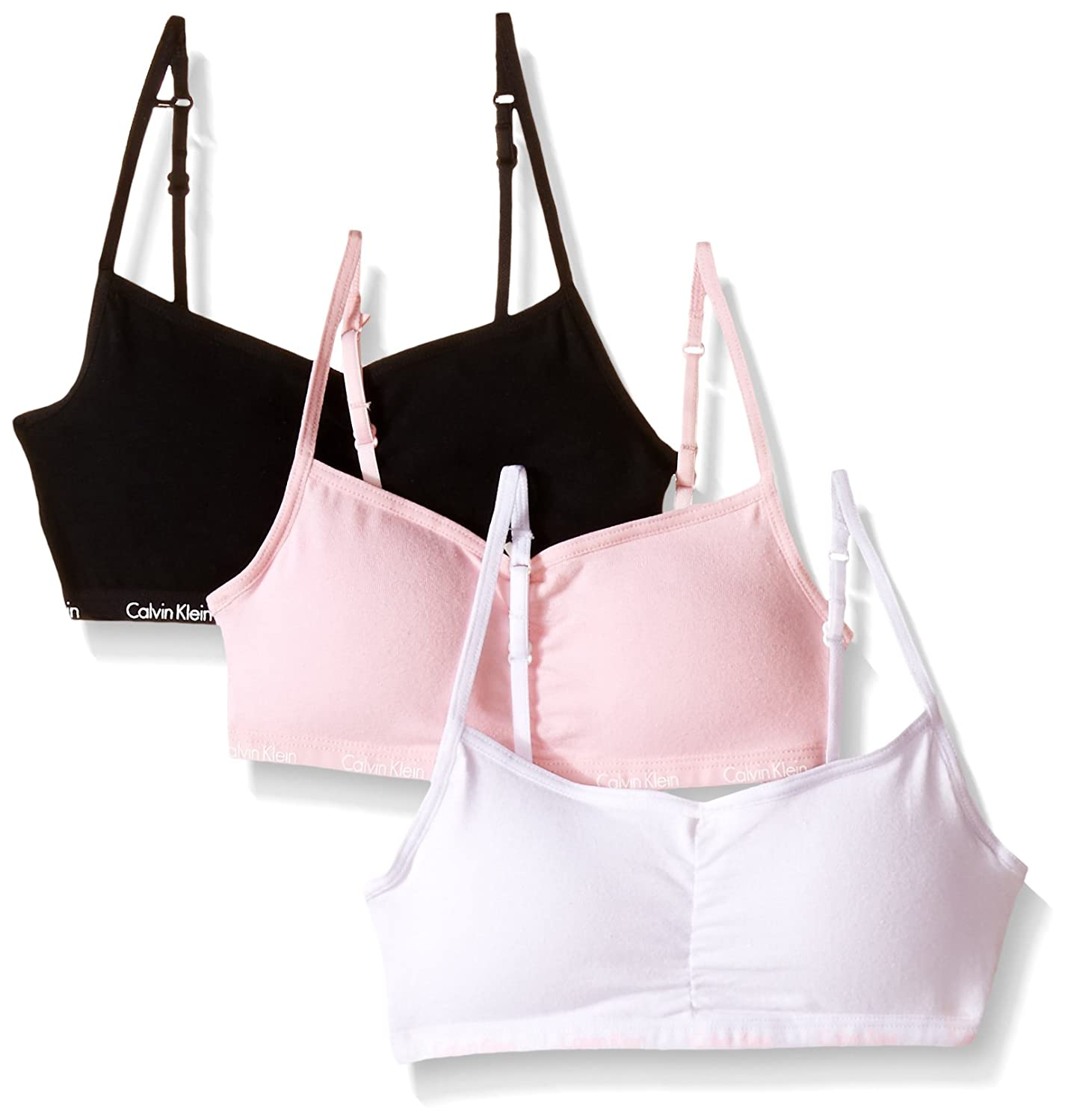 Calvin Klein Big Girls' 3-Pack Logo Padded Cropped Bras 2537B37009