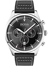 Hugo Boss Men's 44mm Black Leather Band Steel Case Quartz Analog Watch 1513708