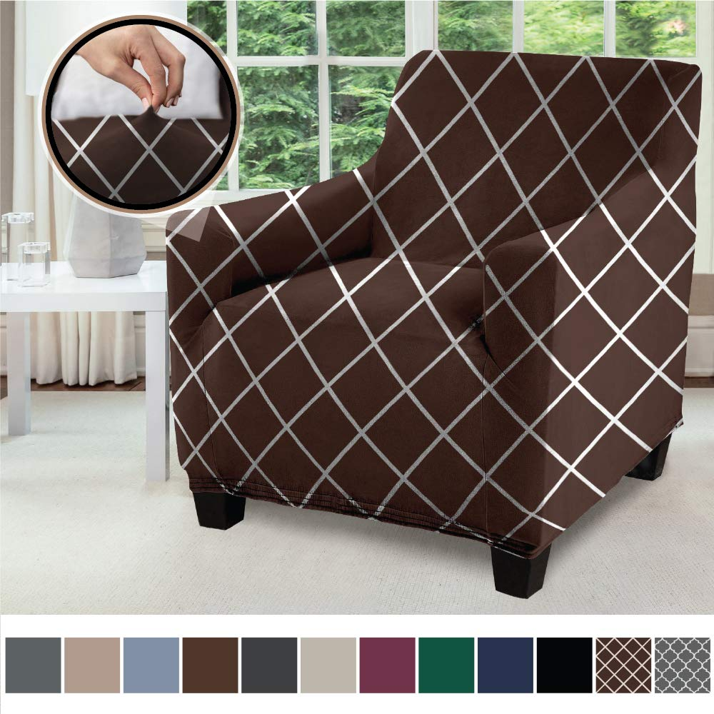 Gorilla Grip Original Velvet Fitted 1 Piece Chair Slipcover, Stretch Up to 23 Inches, Soft Velvety Armchair Slip Cover, Spandex Chairs Furniture Protector, with Fasteners, Diamond Chocolate White