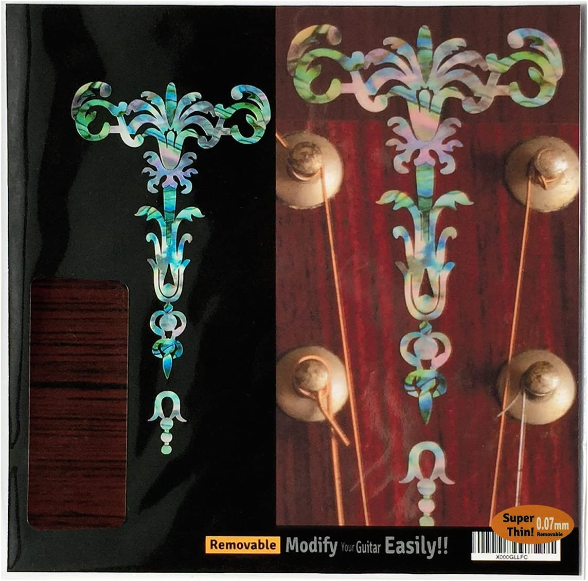 Single Rose Inlay Sticker Decal Guitar Headstock In Abalone Theme