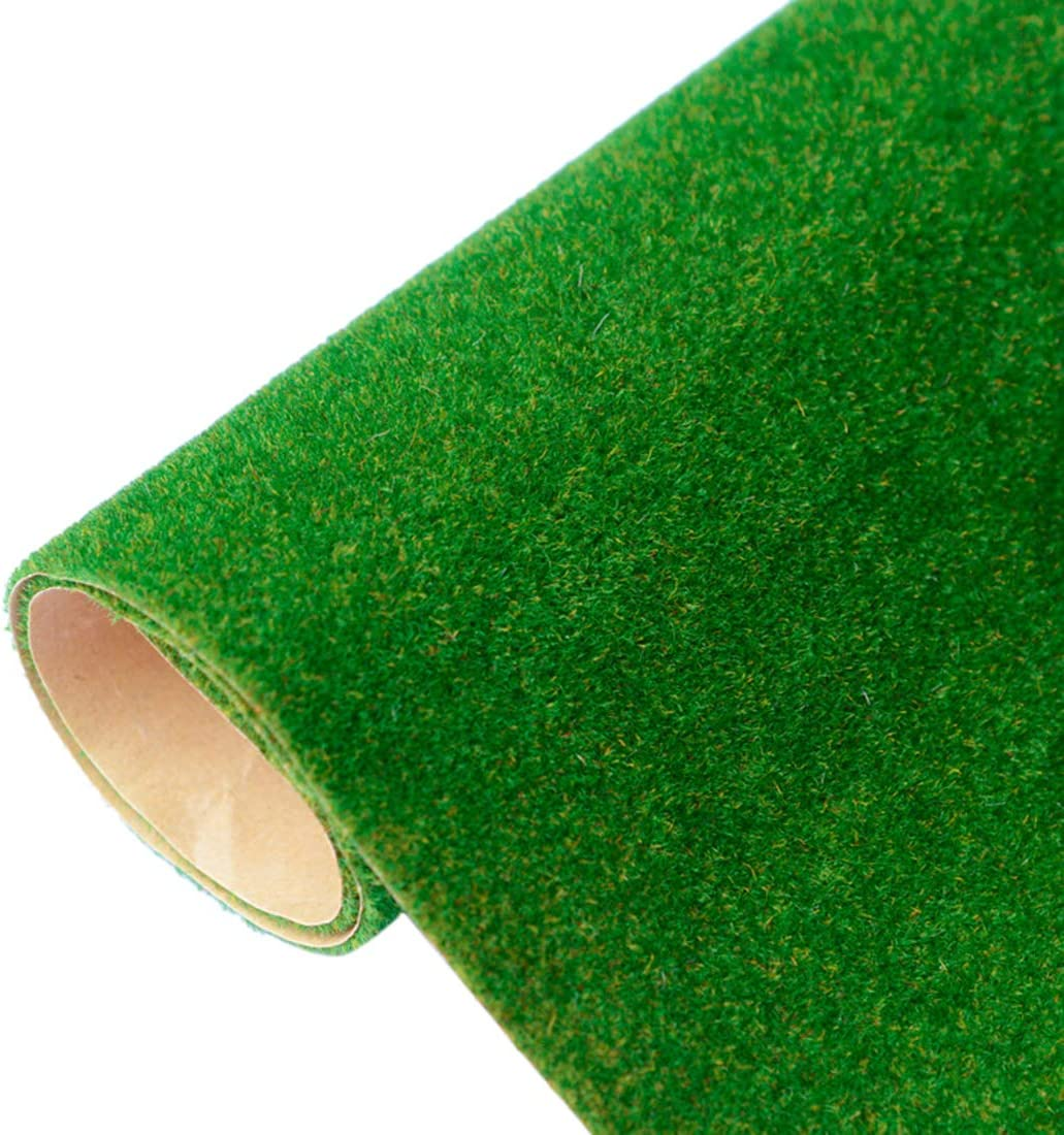 RuiyiF Model Train Grass Mat 16.1 x 39.4 Inches, Artificial Model Grass for Crafts Decoration Train Scenery Miniature Doll House