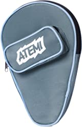 Atemi Table Tennis Bat Cover | Holds 1 Racket and 3 Ping Pong Balls | Thick, Durable Storage | Slip-On Zippered Case w/Front Pocket | Heavy-Duty Durability | Blue