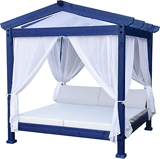 ESTRUCMADER - Cama balinesa con Cama de 2x2m, Techo a 2 Aguas, Azul+Blanco+Blanco: Amazon.es: Jardín