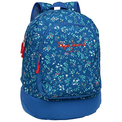 Pepe Jeans Mochila Adaptable a Carro, Diseño Flores, 21 Lt, Color Azul: Amazon.es: Zapatos y complementos