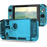 BASSTOP [Update Version] DIY Replacement Housing Shell Case Set for Switch NS NX Console and Right Left Switch Joy-Con Controller without Electronics (Set-ice Blue)