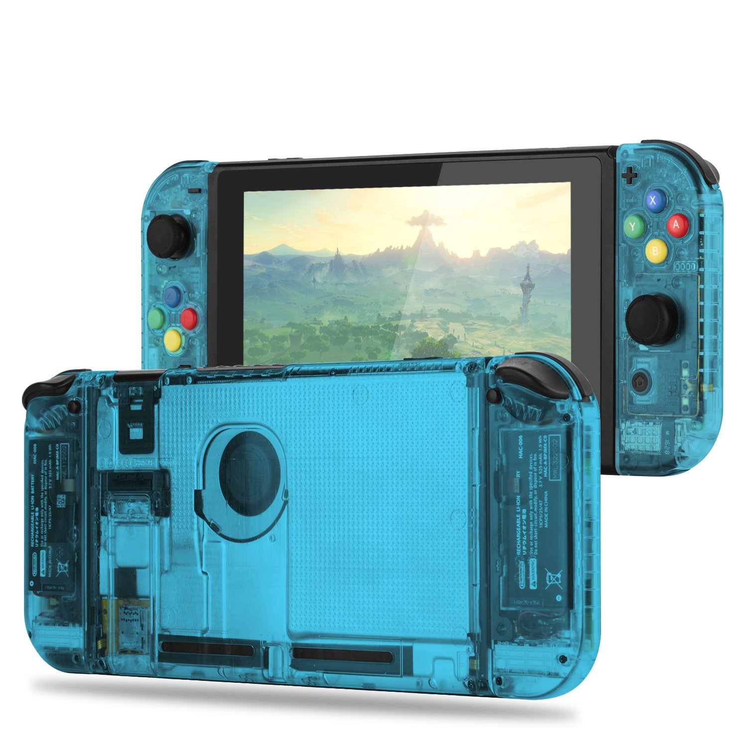 BASSTOP [Update Version] DIY Replacement Housing Shell Case Set for Switch NS NX Console and Right Left Switch Joy-Con Controller Without Electronics ...