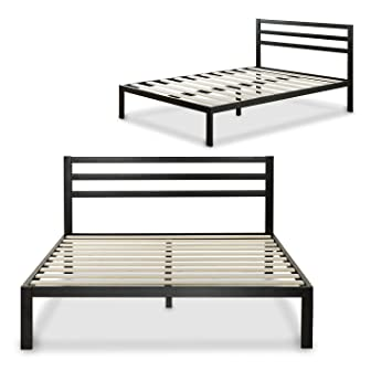 zinus modern studio 14 inch platform 3000h metal bed frame mattress foundation wooden slat - Metal Bed Frame With Headboard
