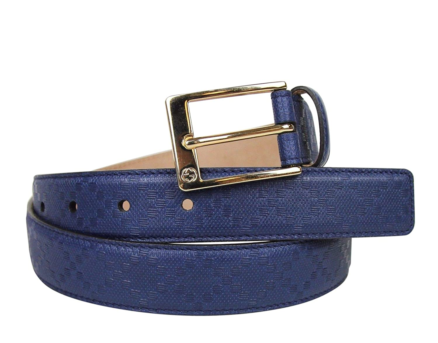 cfb6b8346 Amazon.com: Gucci Men's Square Navy Blue Leather Belt with Buckle 345658  4232 (105/42): Clothing