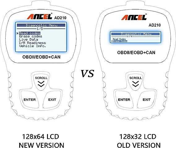 Negro ANCEL AD210 OBD II Lector de C/ódigo de Autom/óvil Herramienta de An/álisis de Diagn/óstico del Esc/áner OBD2 para Veh/ículos Di/ésel y Gasolina