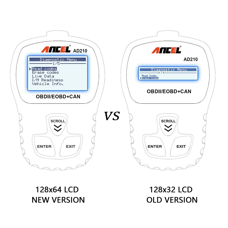 ANCEL AD210 OBD II Lector de Código de Automóvil Herramienta de Análisis de Diagnóstico del Escáner OBD2 para Vehículos Diésel y Gasolina con el ...