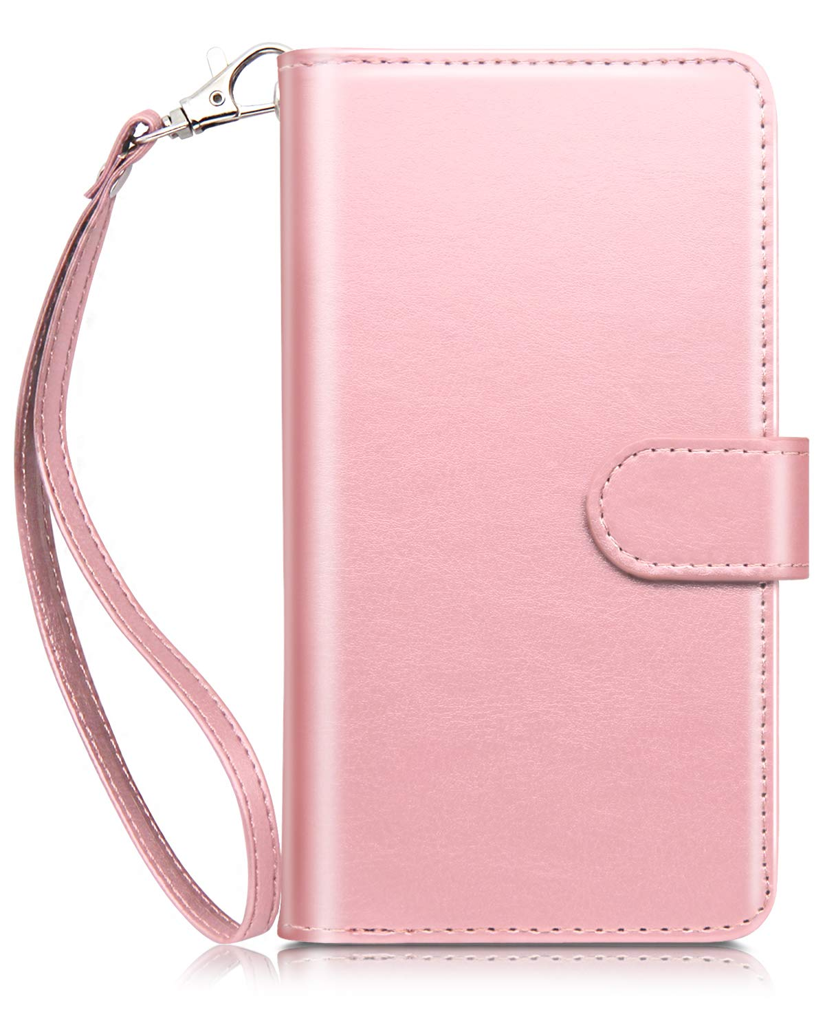 iPhone 8 Plus Case, iPhone 7 Plus Case, Dailylux iPhone 8 Plus Wallet Case Premium PU Leather TPU inner shell Flip Case With 9 Card Slot Shockproof Cover for iphone 8 Plus/7 Plus 5.5 inch Women/Girls-Rose Gold Flower