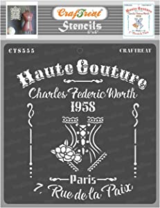 CrafTreat Fashion Stencils for Painting on Wood, Canvas, Paper, Fabric, Floor, Wall and Tile - Haute Couture - 6x6 Inches - Reusable DIY Art and Craft Stencils for Fashion - French Script Stencil