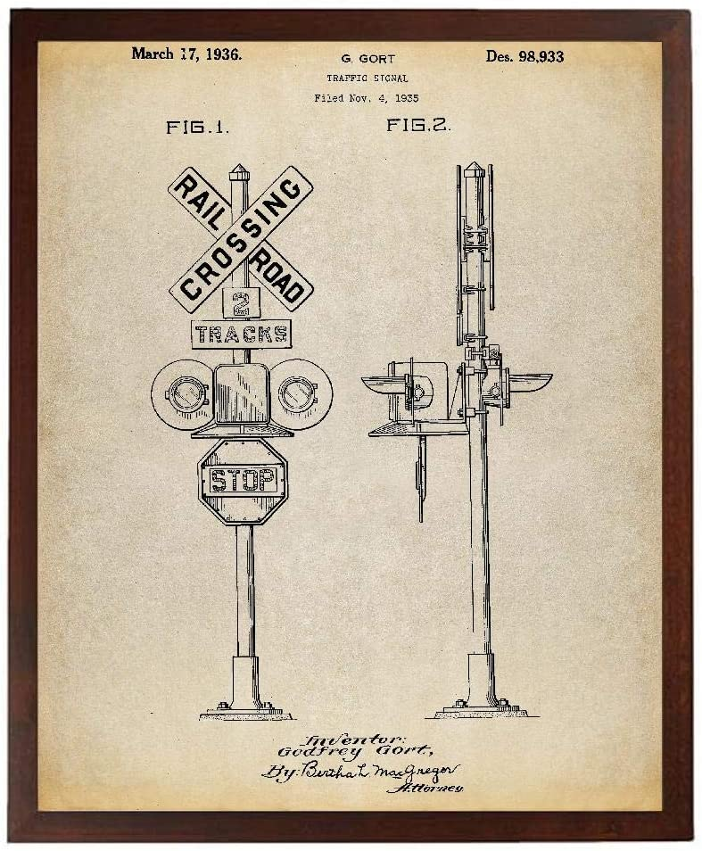 Turnip Designs Railroad Crossing Signal Patent Poster Art Print Model Trains Train Decor Locomotive Train Room Railroad Decor TNP149