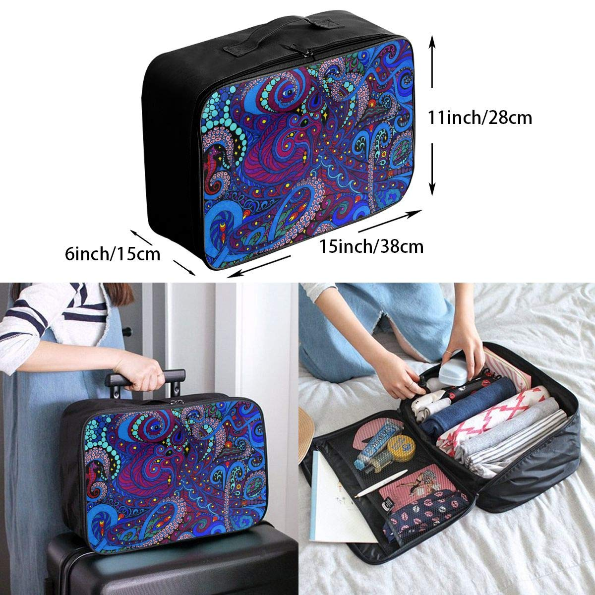 Travel Fashion Lightweight Large Capacity Duffel Portable Waterproof Foldable Storage Carry Luggage Tote Bag Octopus Art