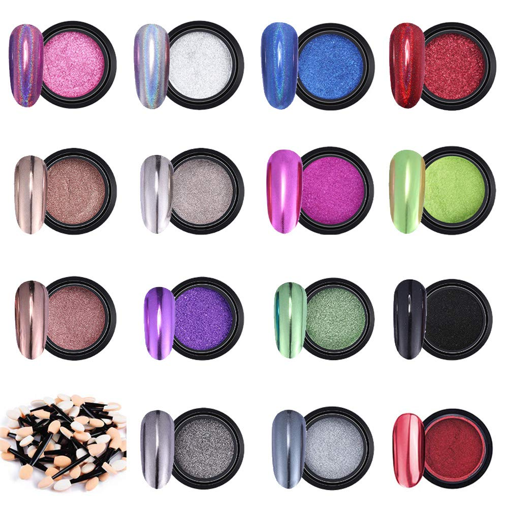Nail Powders Metallic Chrome Nail Powder Mirror Effect Manicure Pigment Nail Art Powders (15)