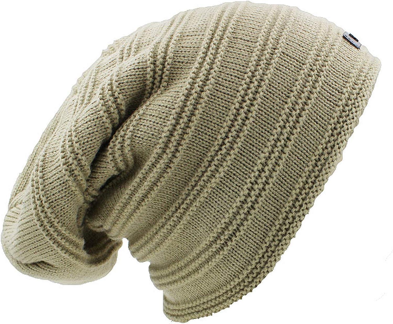 ANDERDM Striped Design Beanie Mens Faux Fur Warm Baggy Knitted Skullies Bonnet Winter Hat for Women Men Winter Hat