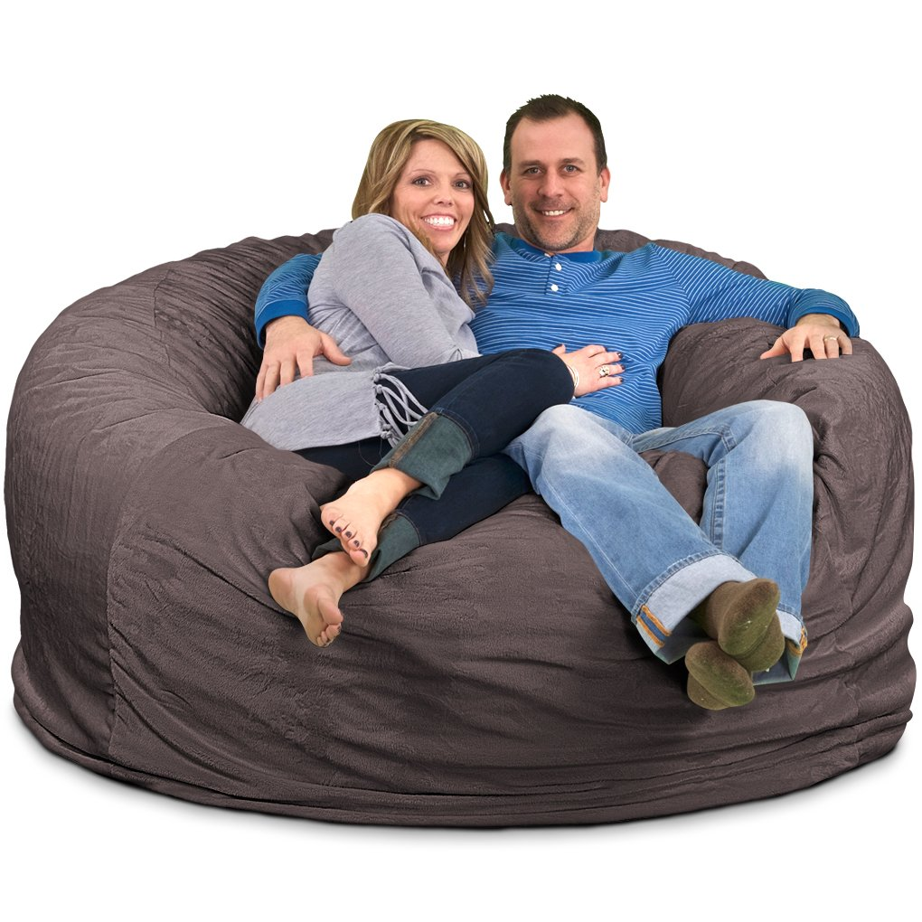 Ultimate Sack 6000 Bean Bag Chair: Giant Foam-Filled Furniture - Machine Washable Covers, Double Stitched Seams, Durable Inner Liner, and 100% Virgin Foam. Comfy Bean Bag Chair. (Grey, Suede)