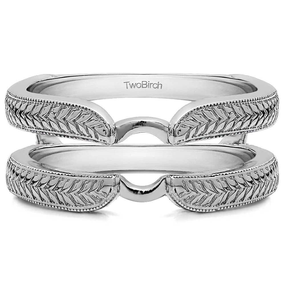 TwoBirch Engraved Cathedral Plain Metal Ring Guard Enhancer(in 10k White Gold size 6.5) with by TwoBirch