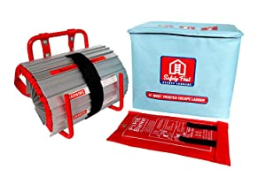 2 Story Emergency Escape Ladder w/Fiberglass Fire Blanket Shelter by Safety First, Comes w/ 13ft Anti-Slip Portable Escape Ladder, Easy to Store