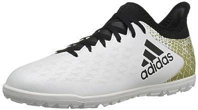 adidas Performance Kids' X 16.3 Turf Soccer Cleats, WhiteBlackMetallic Gold