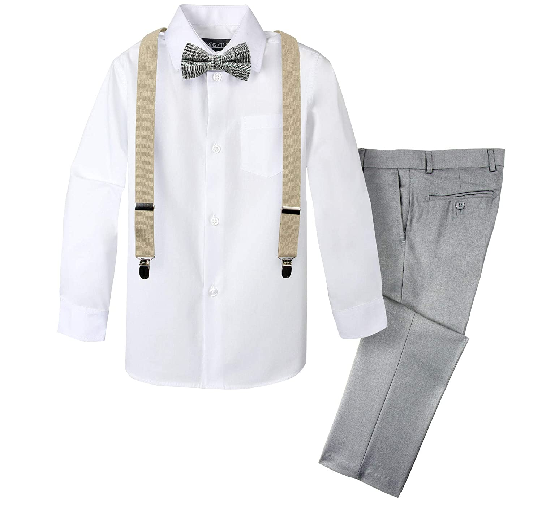 Spring Notion Boys 4-Piece Plaid Suspender Outfit SNS.338C3