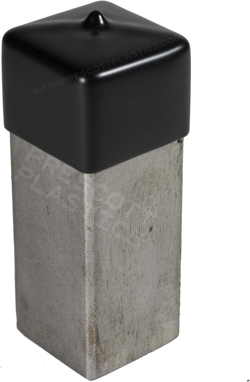 Prescott Plastics 3//4 Inch: Square Black Vinyl End Cap B Flexible Pipe Post Rubber Cover Pack of 20 Caps