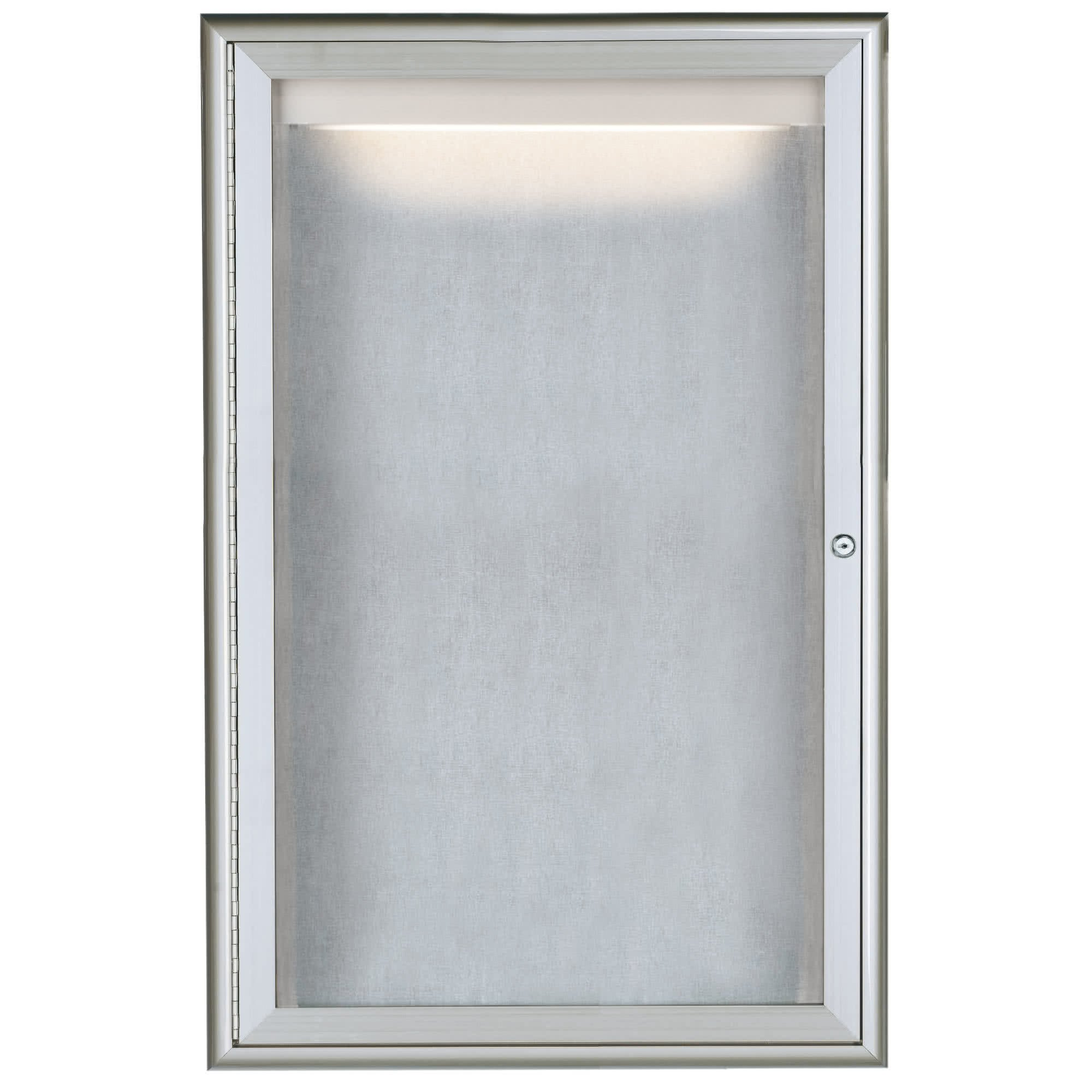 TableTop King LOWFC3624 36'' x 24'' Silver Enclosed Aluminum Indoor / Outdoor Bulletin Board with Waterfall Style Frame and LED Lighting