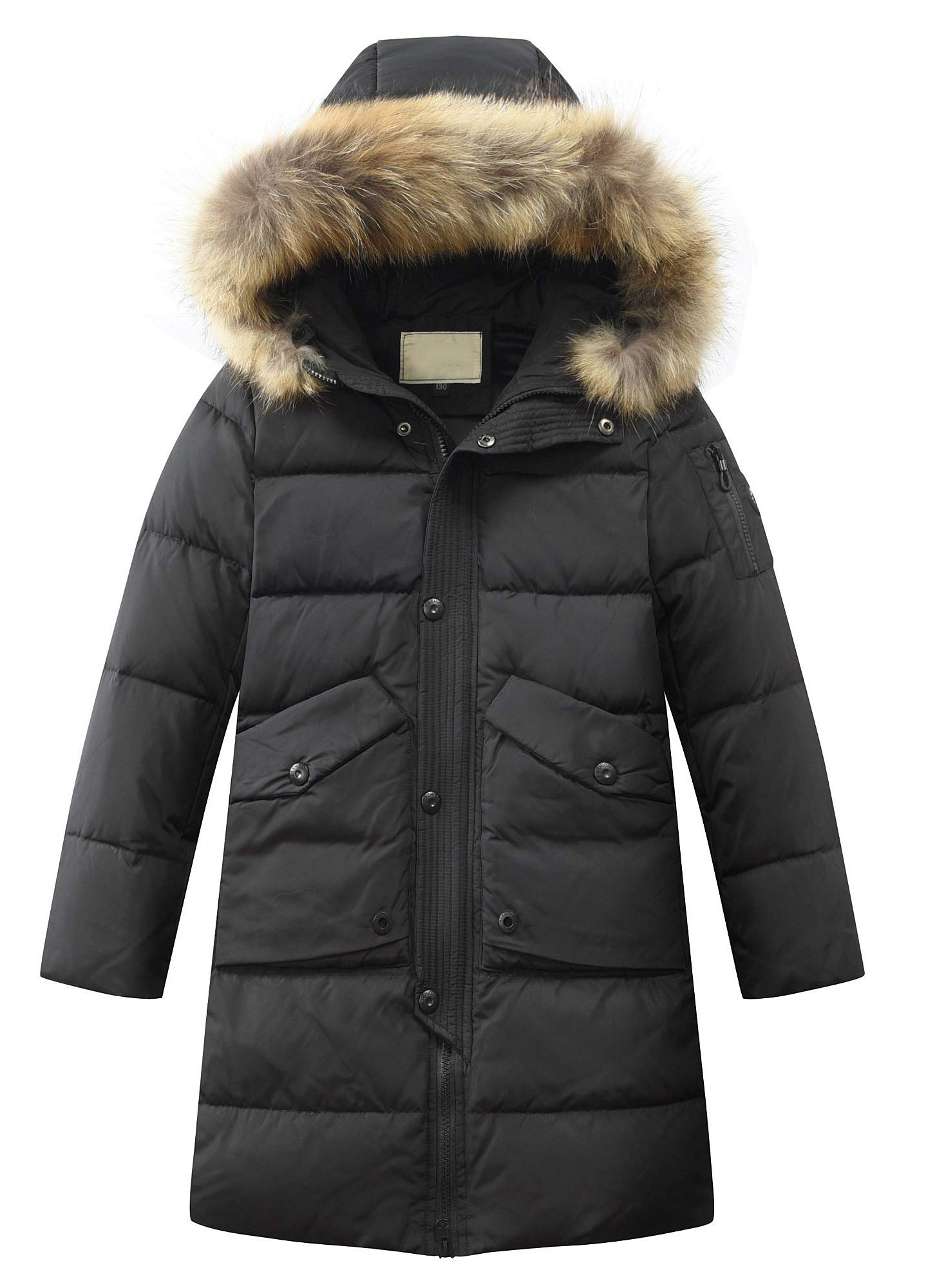 Mallimoda Big Boy's Hooded Bubble Jacket Puffer Down Outwear Coat Style 2 Black 13-14 Years