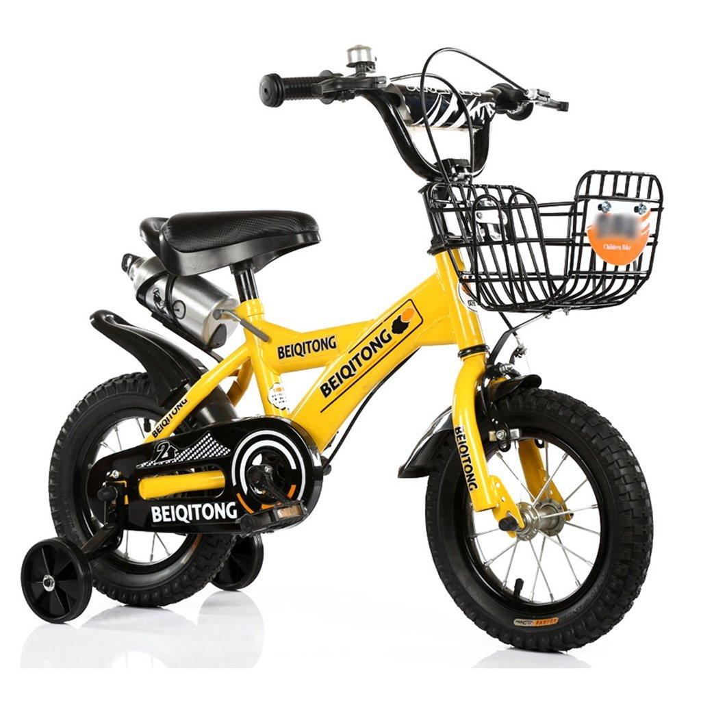 子供の自転車12 | 14 | 16 | 18 | 20インチ屋外の子供の赤ちゃんキッドマウンテンバイク黒のトレーニングホイールで2歳から11歳の男の子の女の子の贈り物|アイアンバスケット|ウォーターボトルセーフ B078JJJ3R5 12インチ|イエロー いえろ゜ イエロー いえろ゜ 12インチ