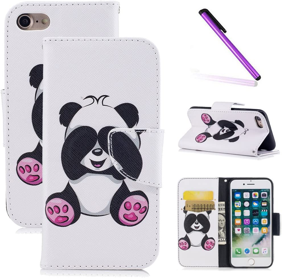 iPhone 8 Case,iPhone 7 Case,LEECOCO Fancy Print Floral Wallet Case with Card/Cash Slots [Kickstand] PU Leather Folio Flip Protective Case Cover for iPhone 7 / iPhone 8 (4.7) Cute Panda
