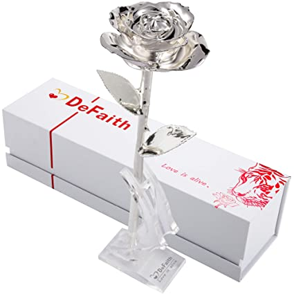 627c3be4a Amazon.com: DEFAITH Silver Dipped Real Rose, Best Gifts for Her 25th  Anniversary Valentine's Day Christmas Mother's Day - Sterling Silver Rose  with Stand: ...